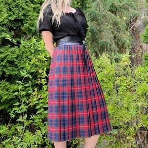 Classic Plaid Pleated Vintage Red Blue Green Skirt